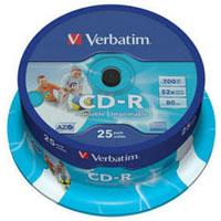 Диск CD-R Verbatim 700Mb 52x Cake box 25 Printable (43439)
