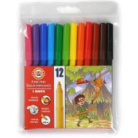 Фломастеры KOH-I-NOOR Fibre pens 1002, 12 colors, polyethylene (771002AB04TE)