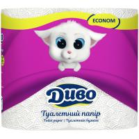 Туалетная бумага Диво Econom 2-слойная белая 4 шт (тп.де.4б)