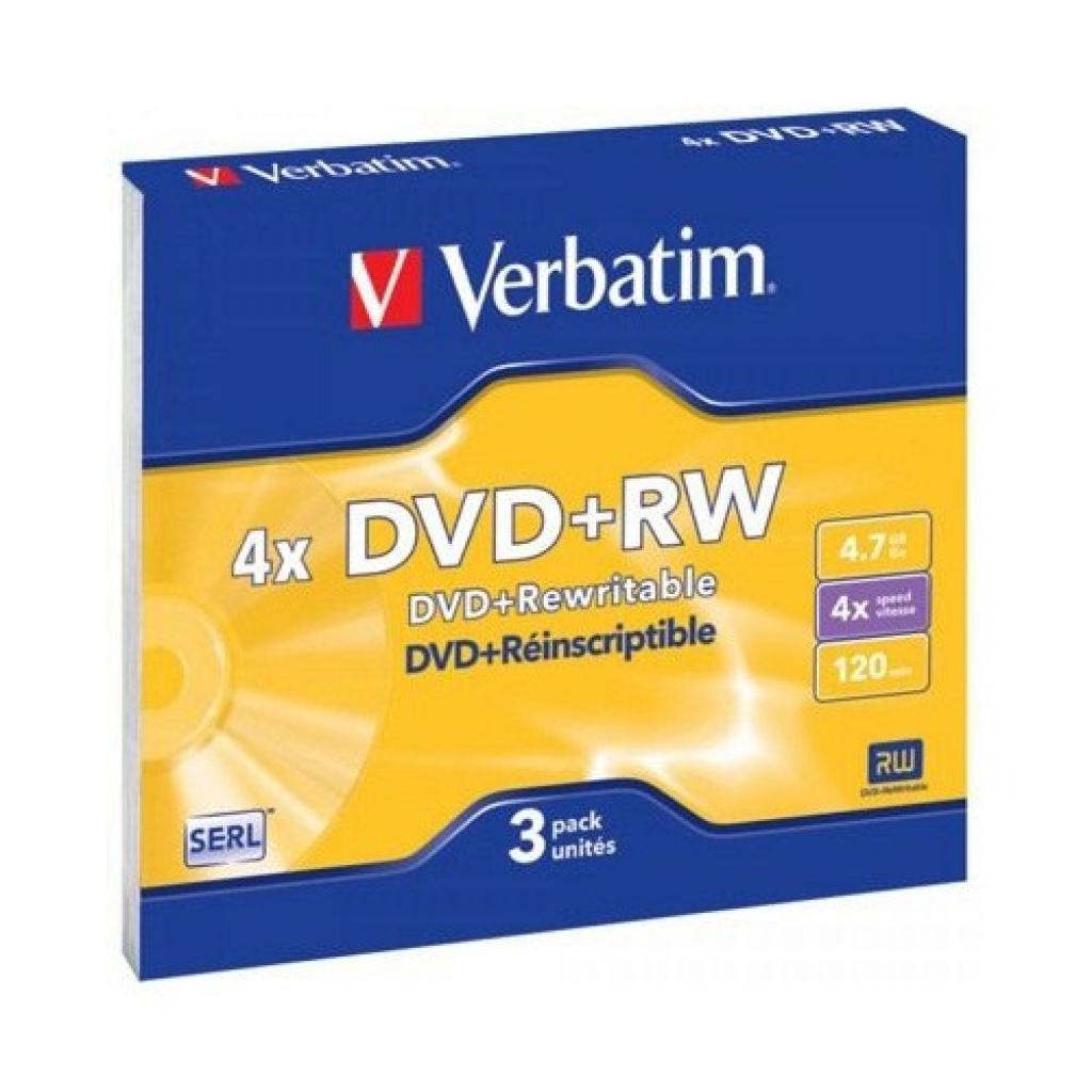 Диск DVD Verbatim 4.7Gb 4x SlimCase 3шт Matte Silver (43636)