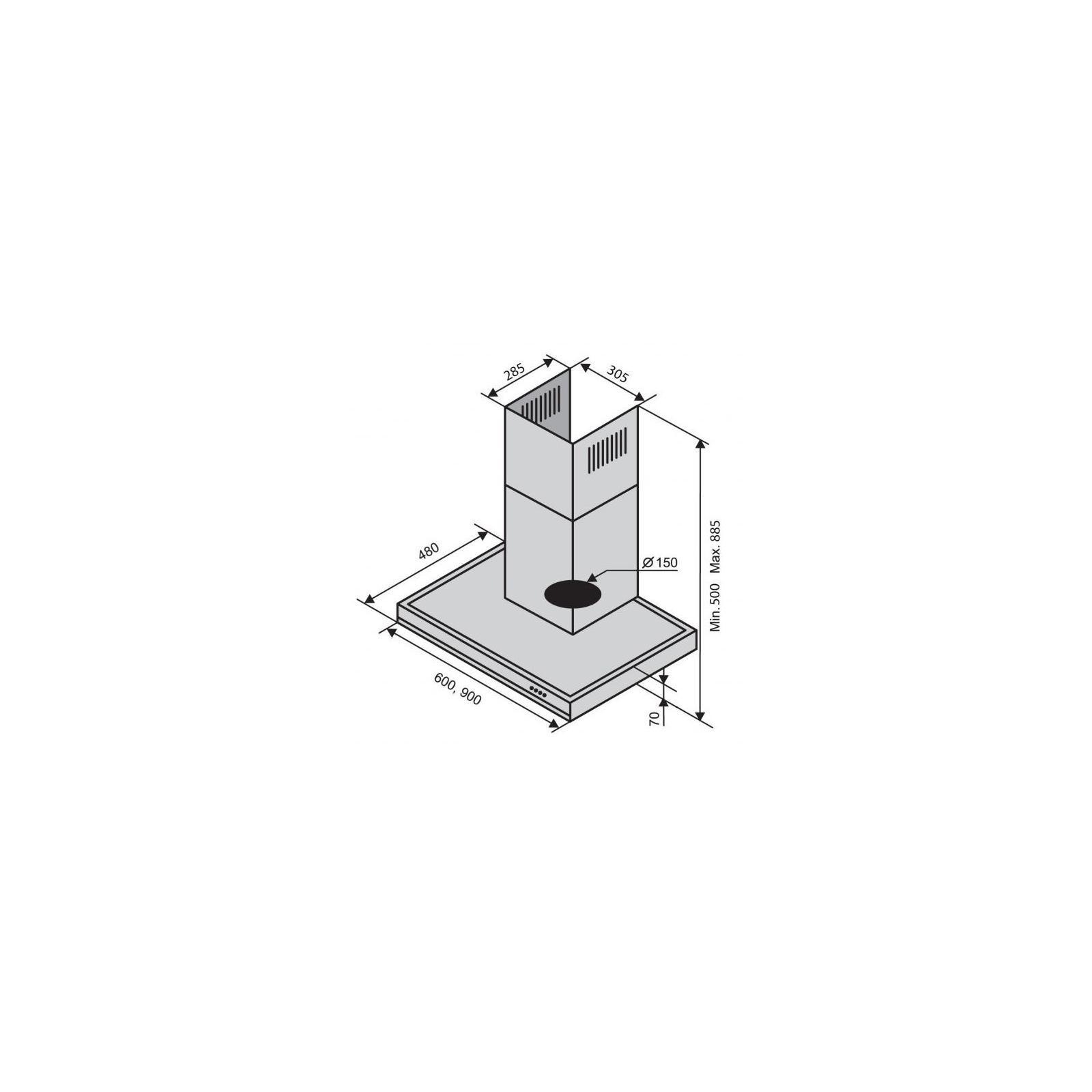 Вытяжка кухонная Ventolux ITALIA 90 BK/X (1200) изображение 2