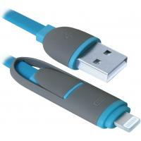 Дата кабель Defender USB10-03BP USB - Micro USB/Lightning, blue, 1m (87487)