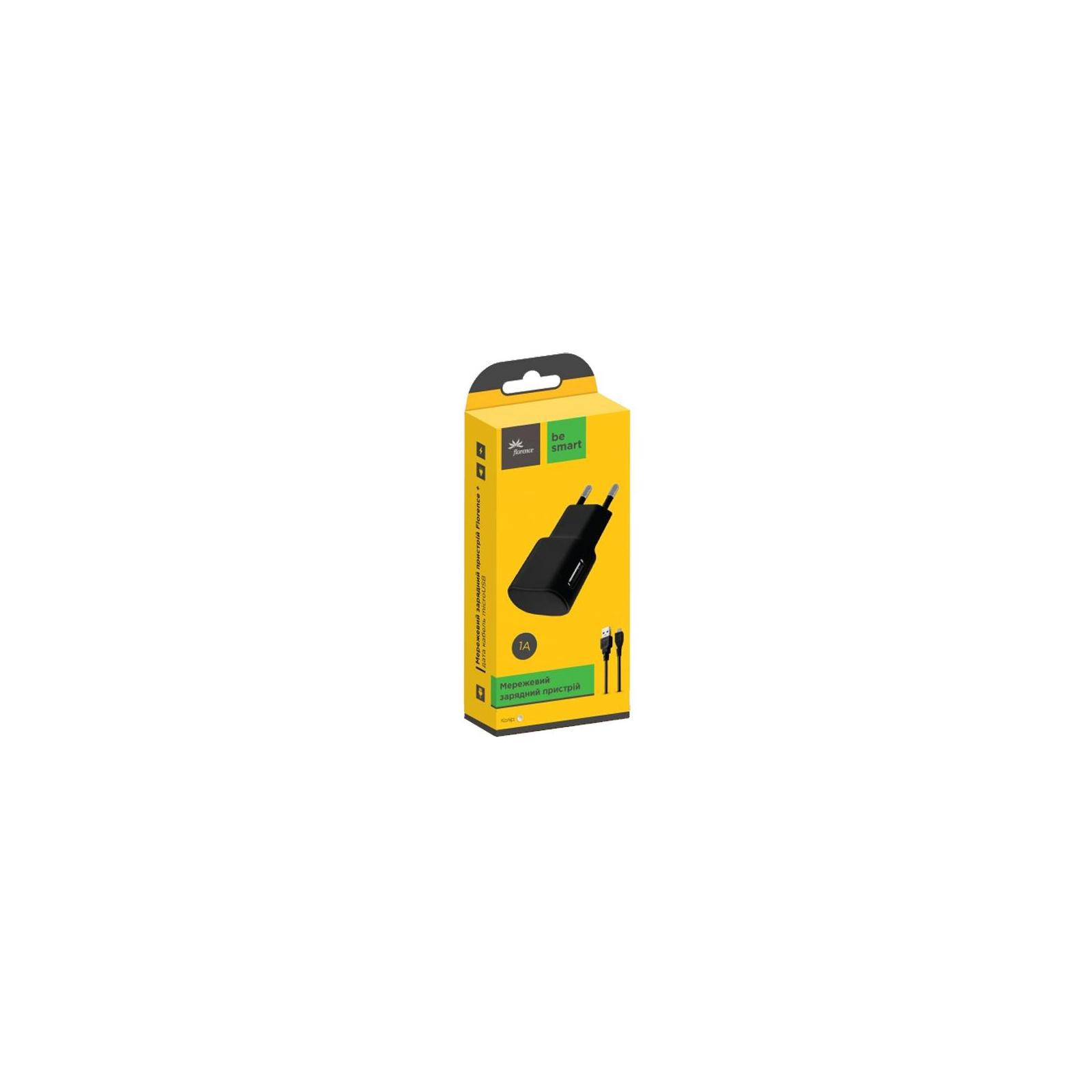 Зарядное устройство Florence USB, 1.0A + cable microUSB white (FW-1U010W-M) изображение 2