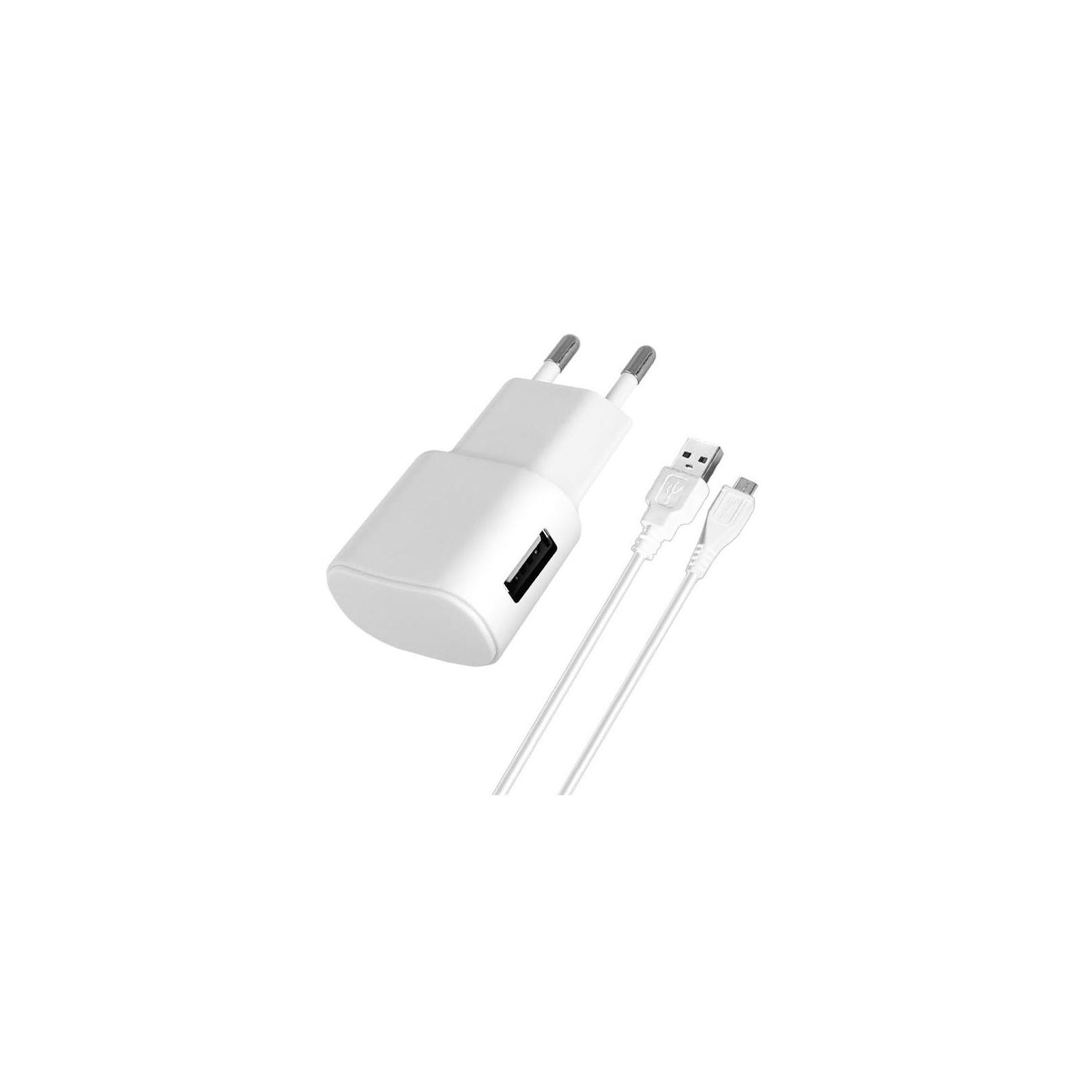 Зарядное устройство Florence USB, 1.0A + cable microUSB white (FW-1U010W-M)