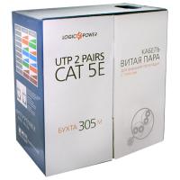 Кабель сетевой UTP 305м cat.5e КНПТ (4*2*0,50)[CU] внешн. с тросом 7*0,4мм LogicPower (2497)
