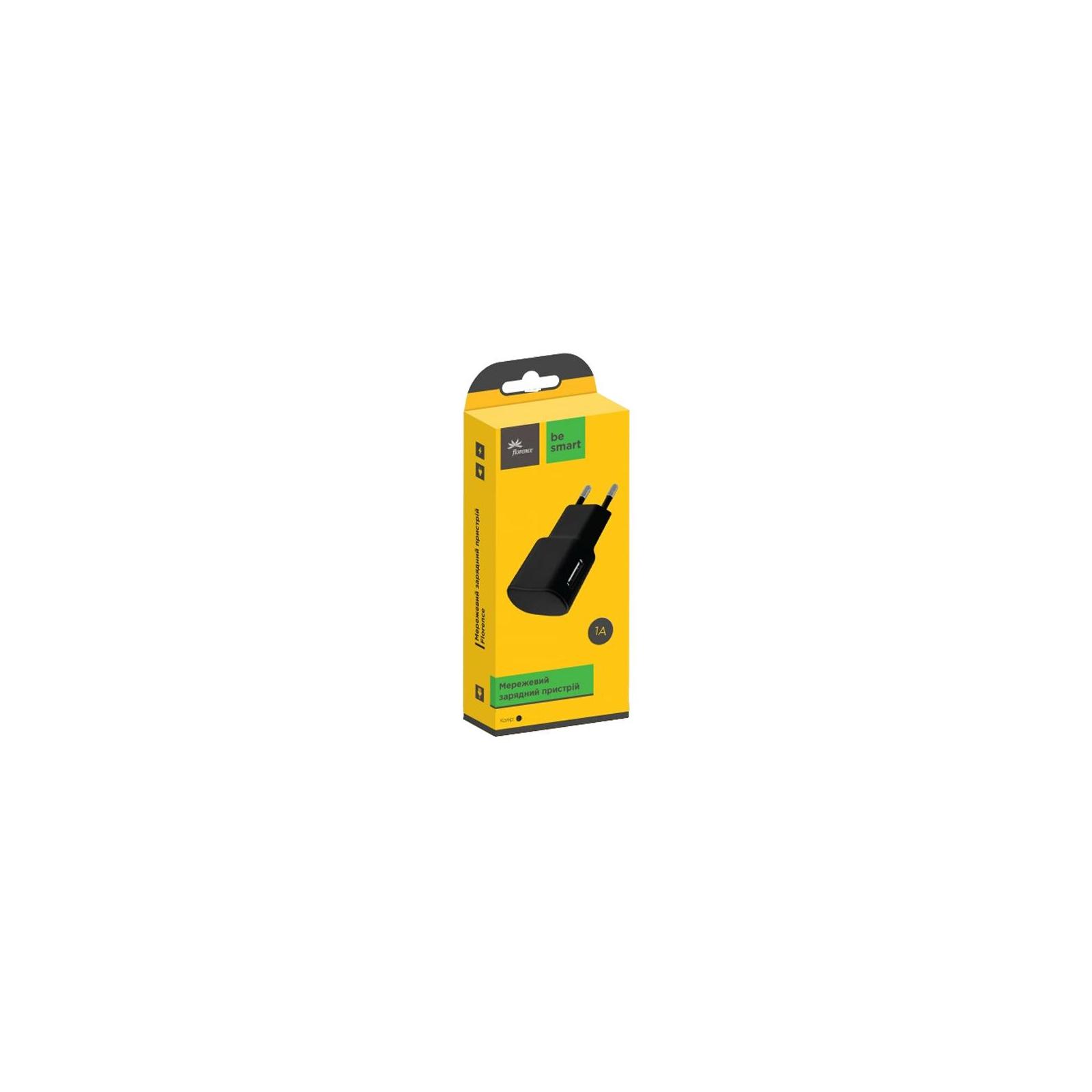 Зарядное устройство Florence USB, 1.0A black (FW-1U010B) изображение 2