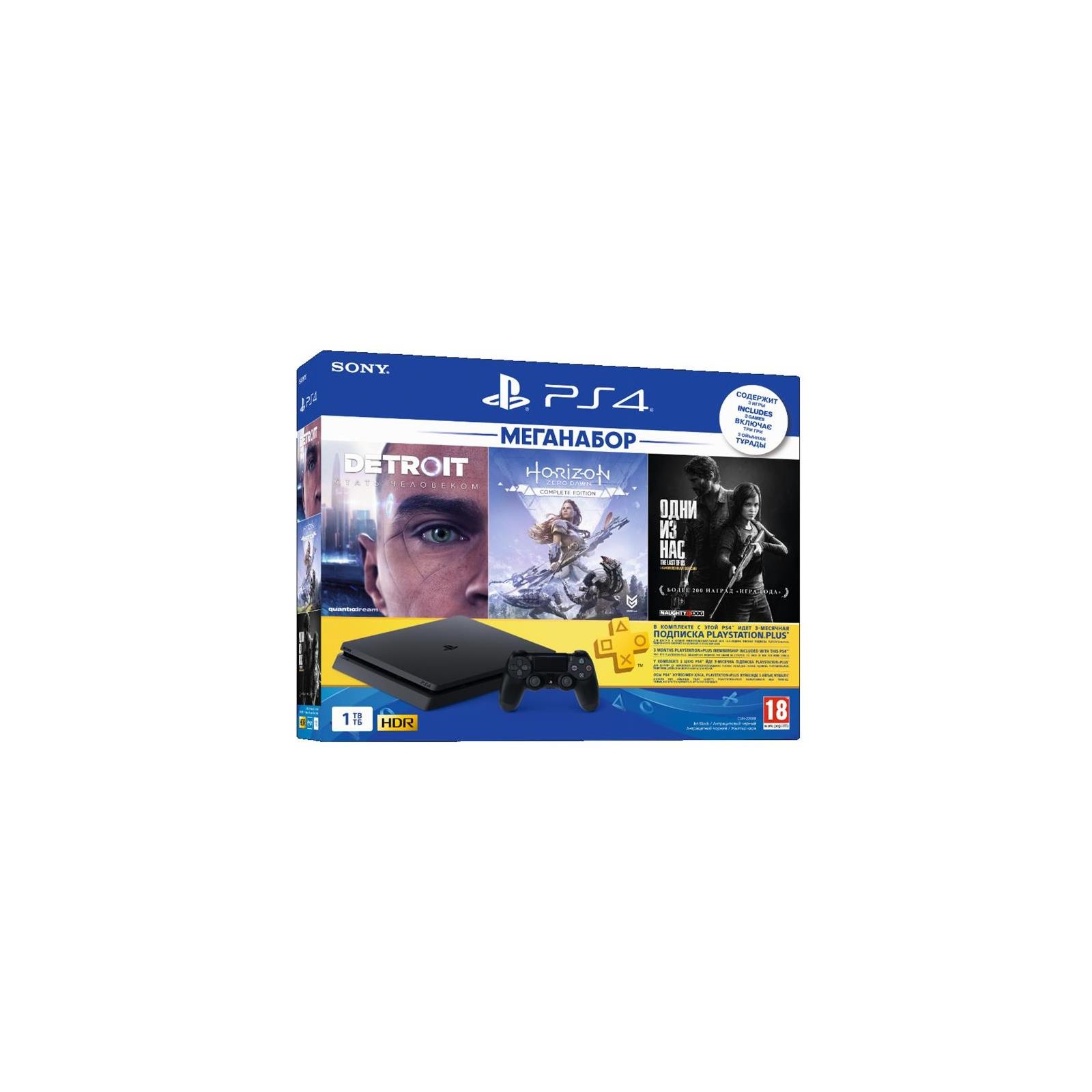 Игровая консоль Sony PlayStation 4 Slim 1TB HZD+DET+The Last of Us+PSPlus 3М (9926009)