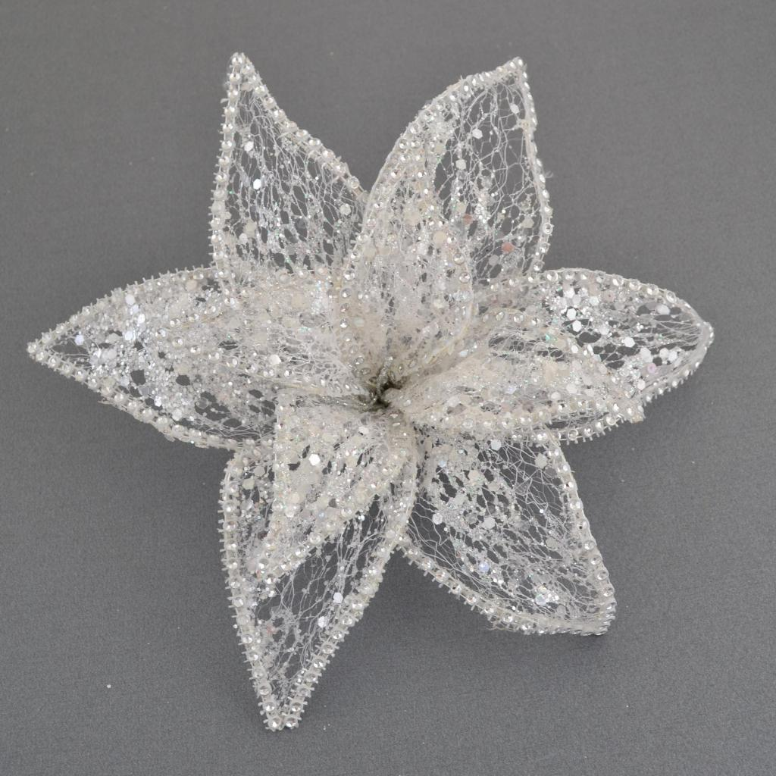 Украшение декоративное YES! Fun Цветок пуансеттии Северное сияние белый, 24*24см (750300)