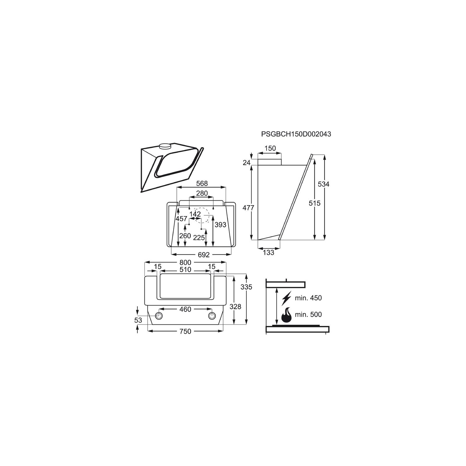 Вытяжка кухонная Electrolux EFV 80465 OW (EFV80465OW) изображение 2