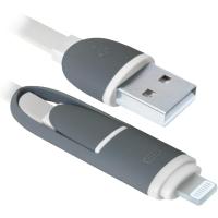 Дата кабель Defender USB10-03BP USB - Micro USB/Lightning, white, 1m (87493)