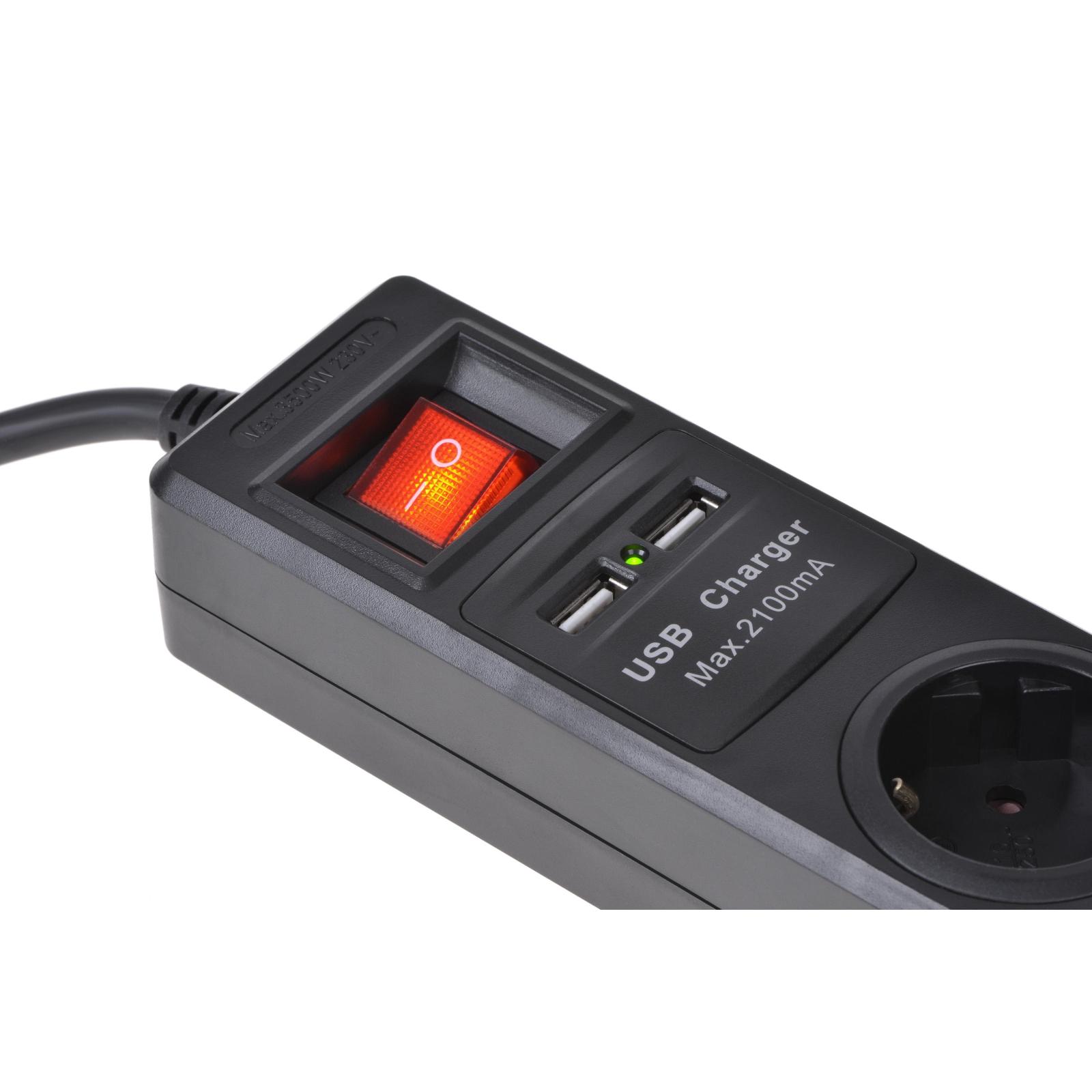 Сетевой фильтр питания 2E 3xSchuko з вимикачем, 2хUSB, 1.8м (2E-U03ESUM1.8) изображение 3
