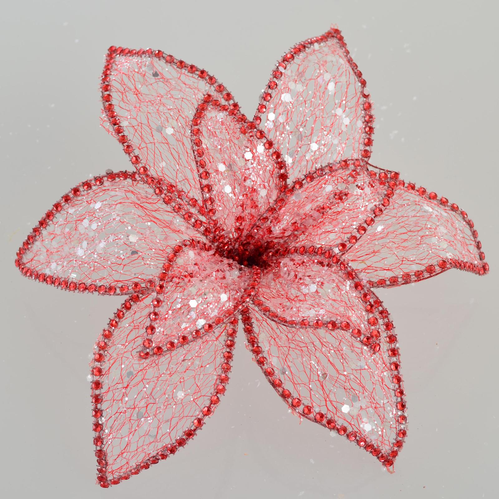 Украшение декоративное YES! Fun Цветок пуансеттии Северное сияние красный, 24*24см (750298)