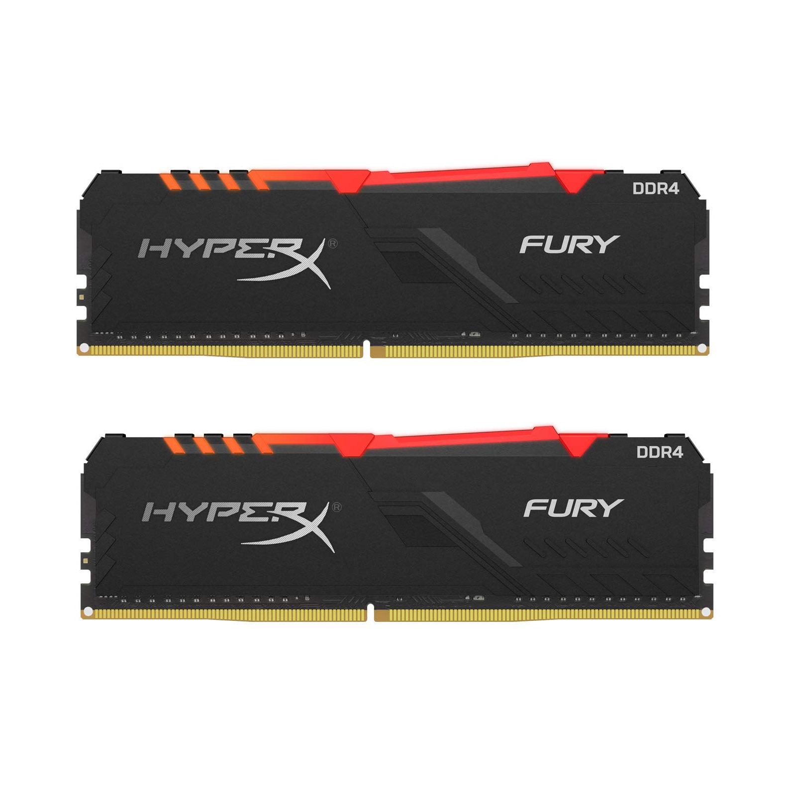 Модуль пам'яті для комп'ютера DDR4 16GB (2x8GB) 3600 MHz HyperX Fury RGB Kingston (HX436C17FB3AK2/16)
