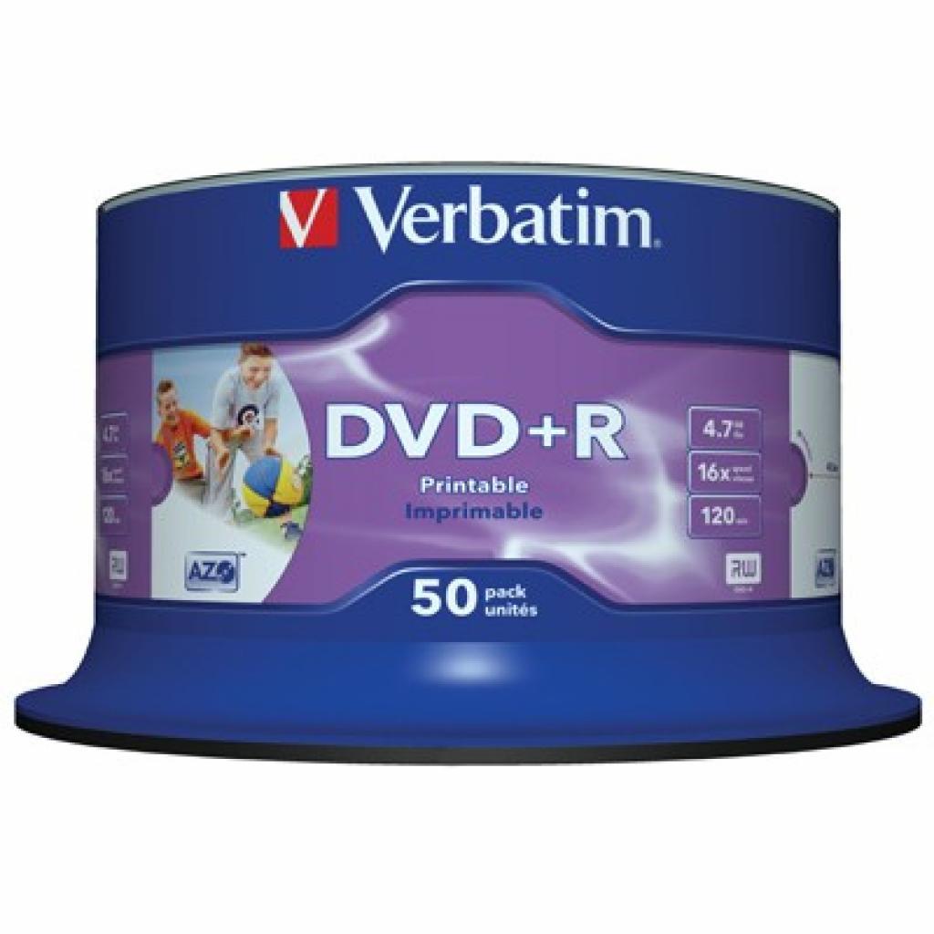 Диск DVD+R Verbatim 4.7Gb 16X CakeBox 50шт Print-White (43651)