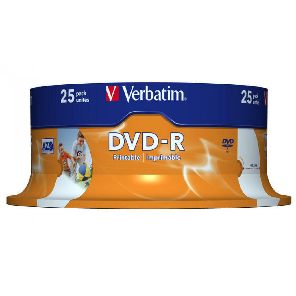 Диск DVD Verbatim 4.7Gb 16X CakeBox 25шт Printable (43538) изображение 2