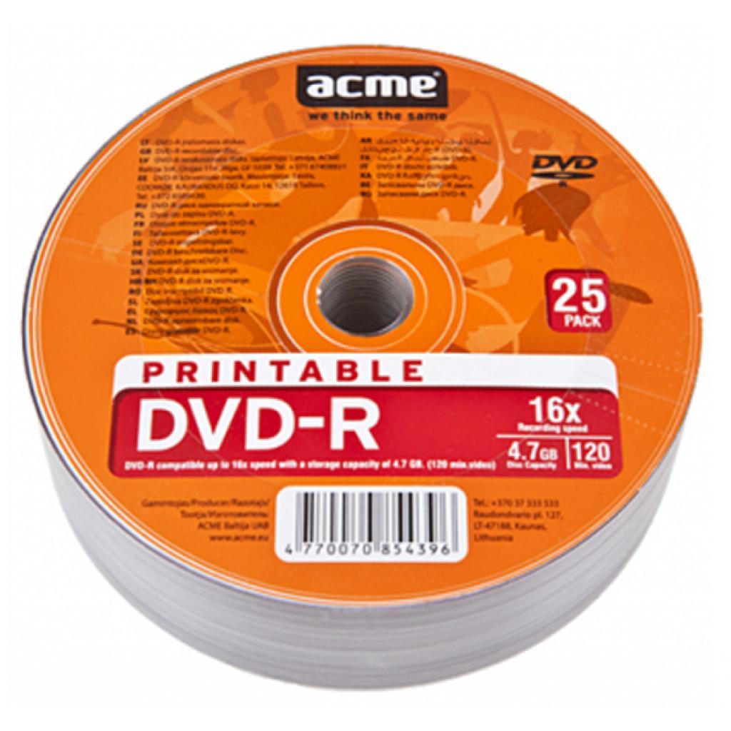 Диск DVD ACME 4.7Gb 16x Cake box 25шт Printable (854396)