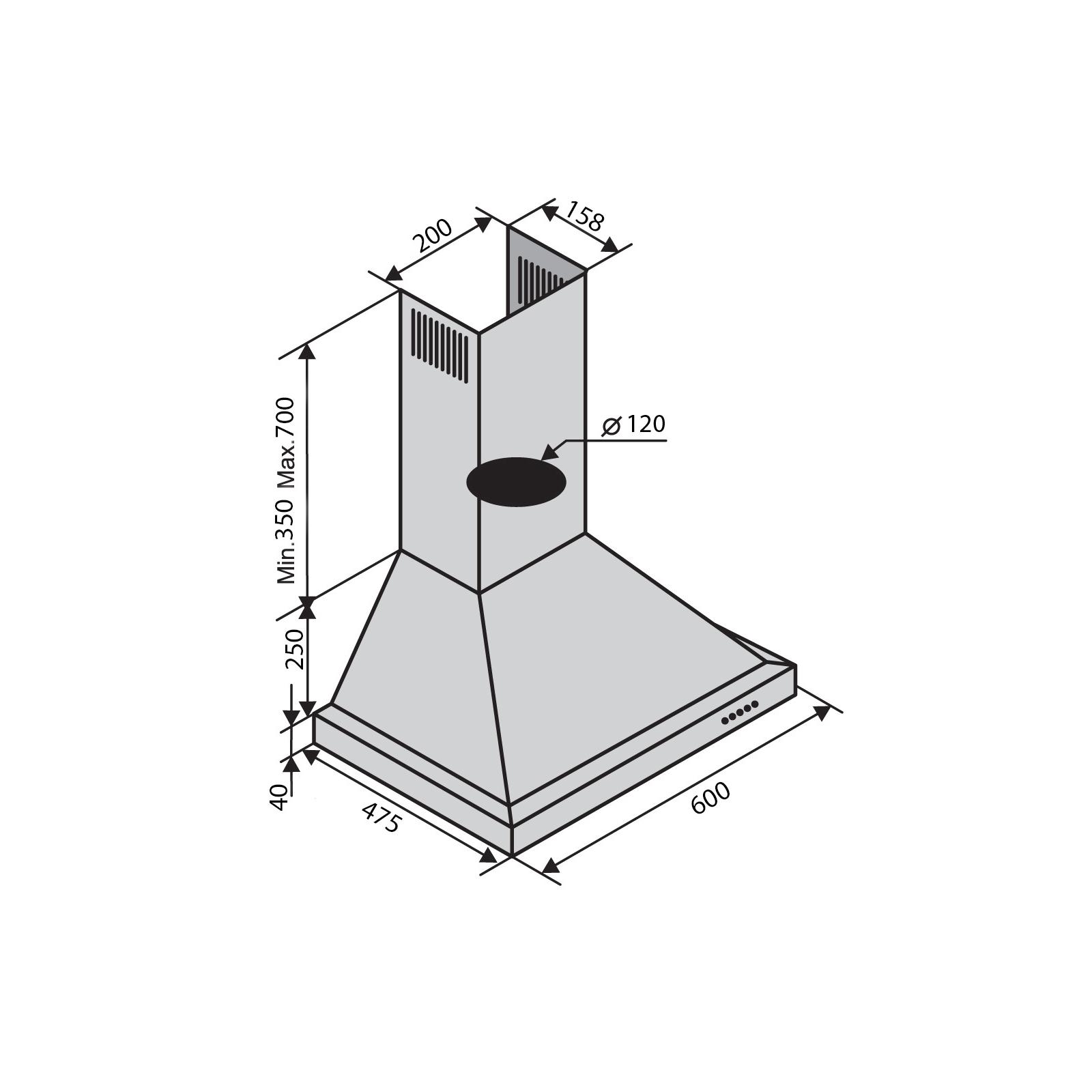 Вытяжка кухонная Ventolux LAZIO 60 INOX (800) изображение 2