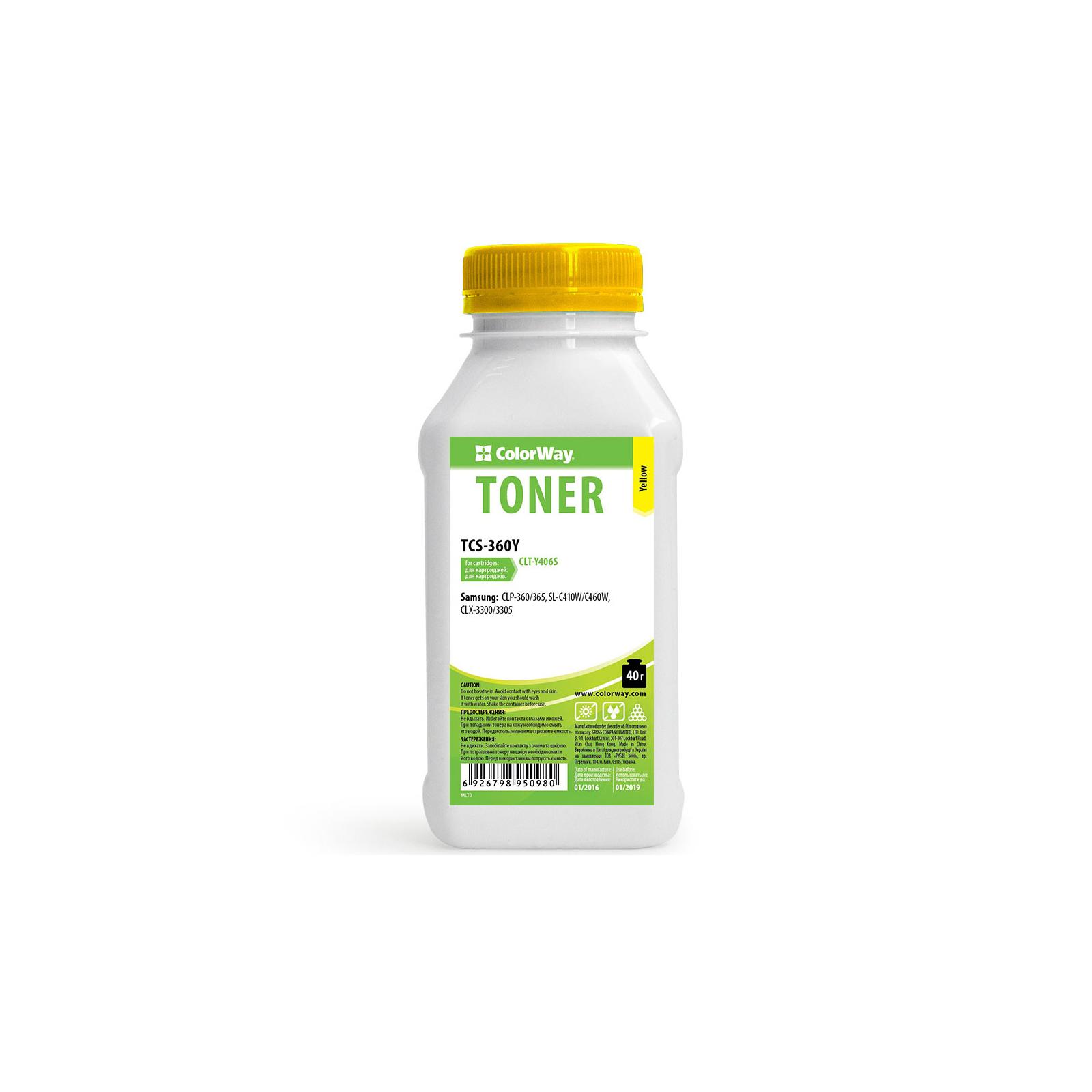 Тонер SAMSUNG CLP-360/365 Yellow 40g ColorWay (TCS-360Y)