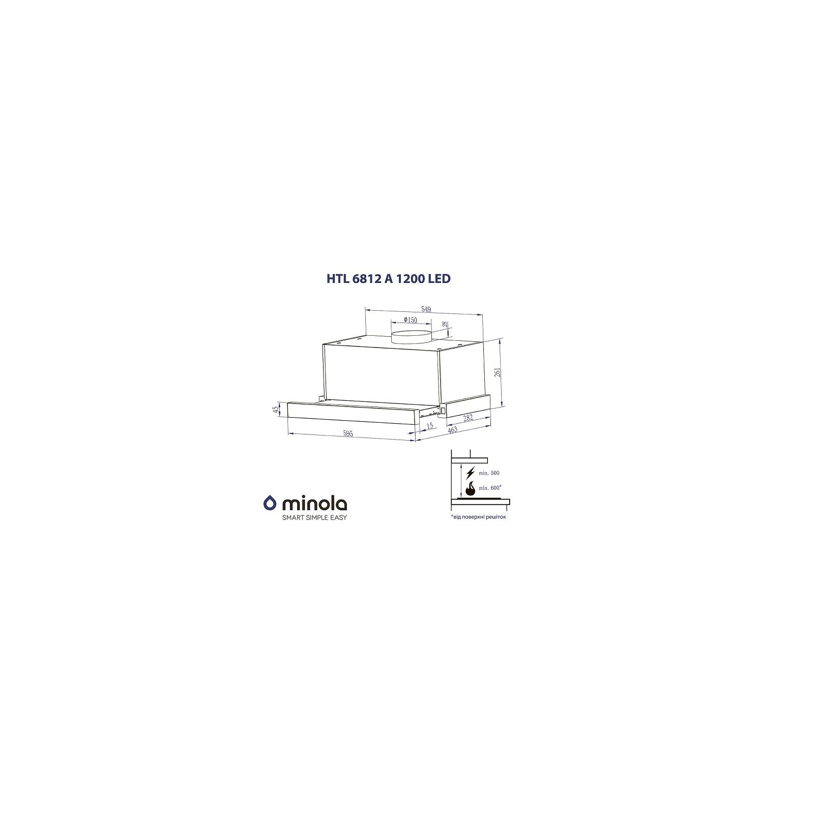 Вытяжка кухонная MINOLA HTL 6812 WH 1200 LED изображение 6