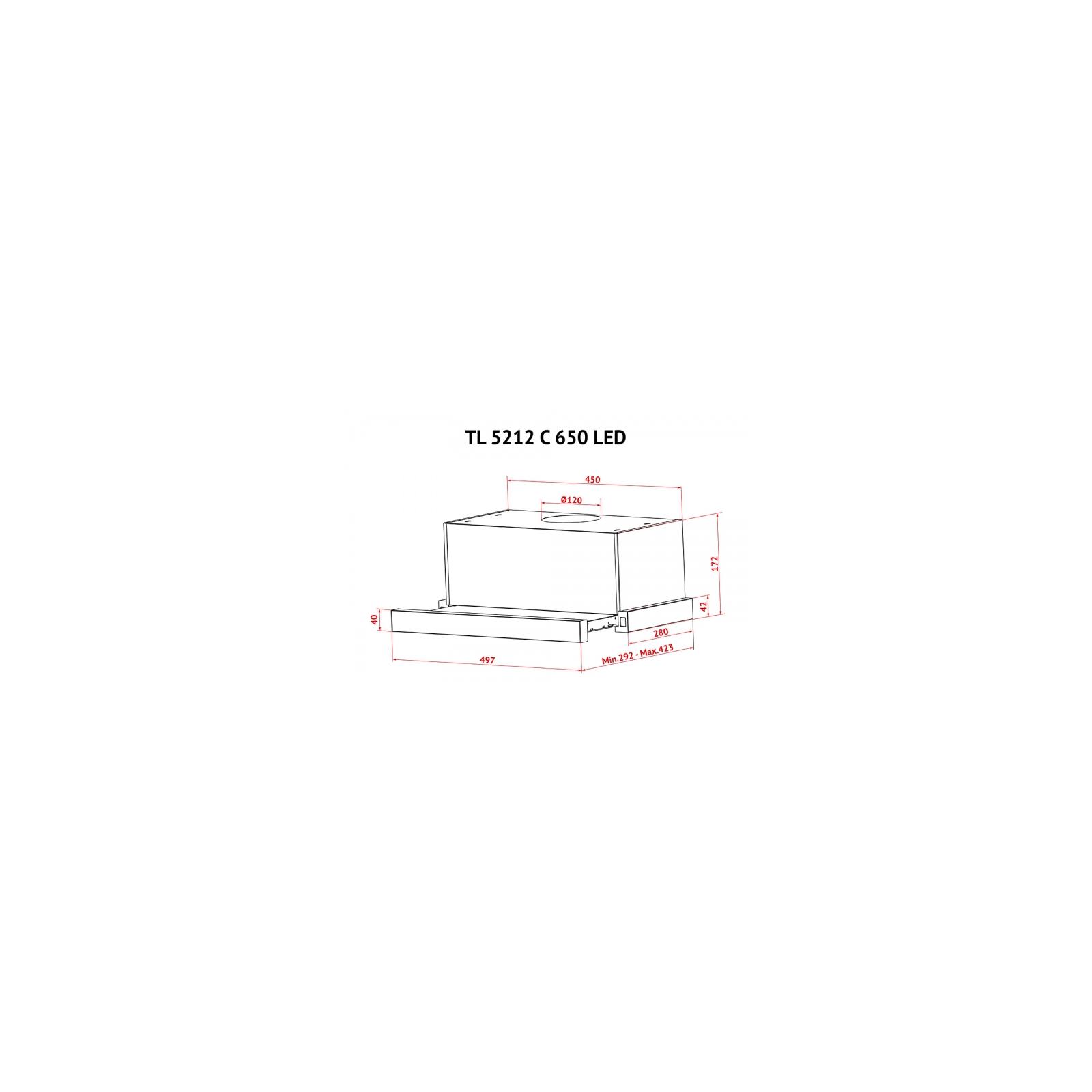 Вытяжка кухонная Perfelli TL 5212 C S/I 650 LED изображение 12