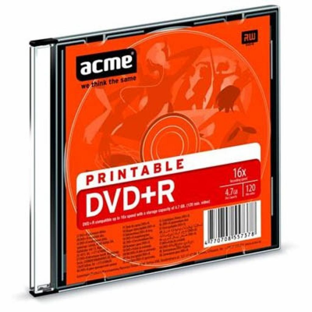 Диск DVD ACME 4.7Gb 8x Slim Case PRINTABLE 1шт (4770708557378)