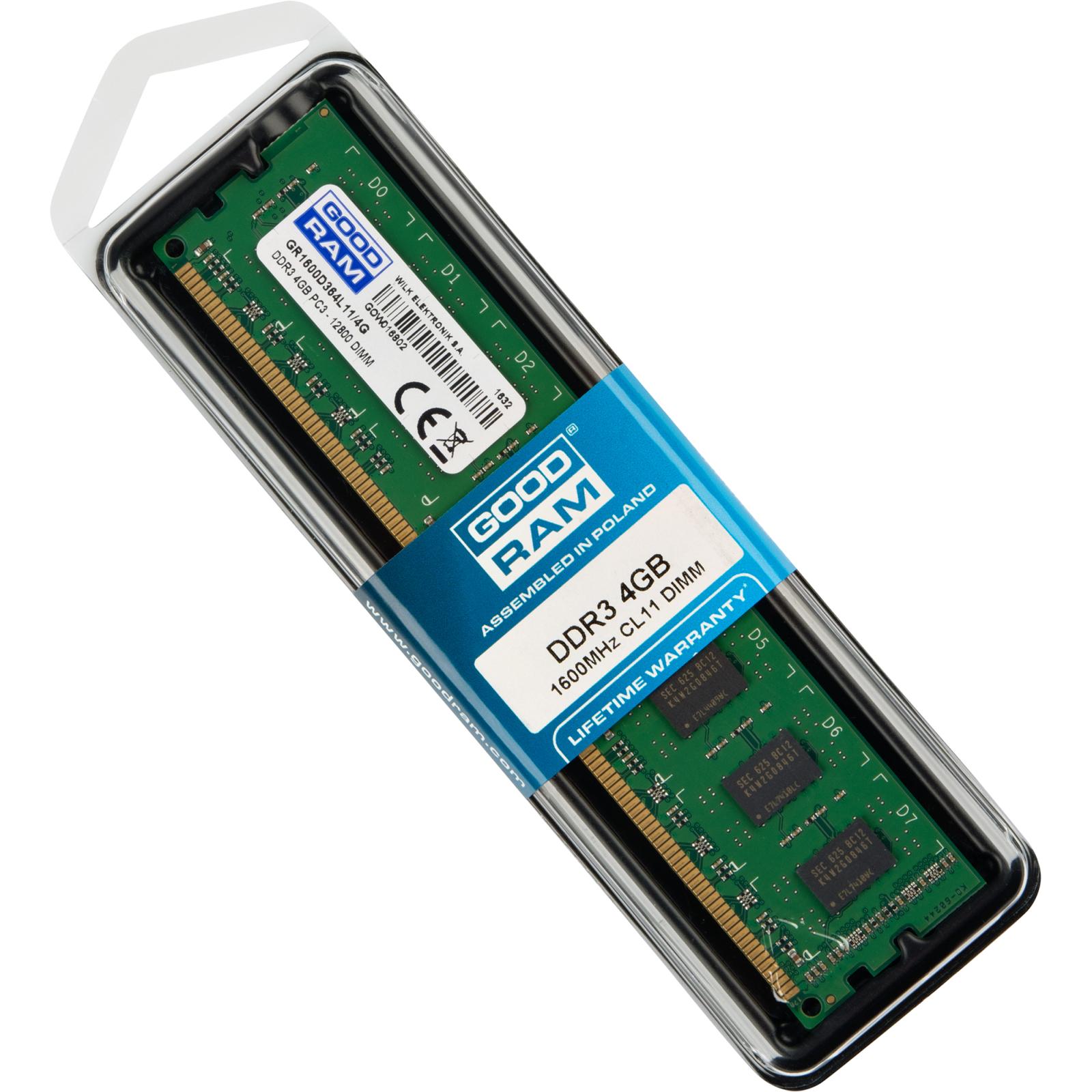 Модуль памяти для компьютера DDR3 4GB 1600 MHz GOODRAM (GR1600D364L11/4G) изображение 5
