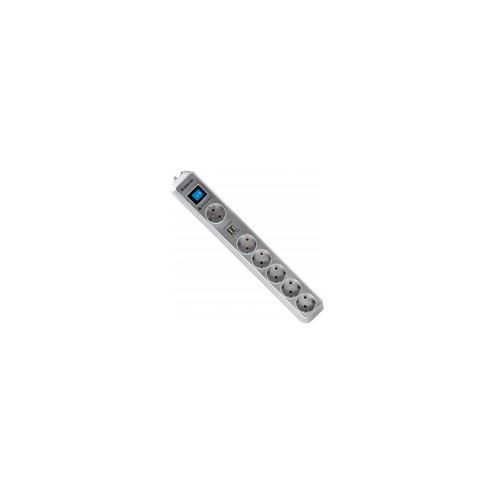 Сетевой фильтр питания Defender DEFENDER DFS 505 5m 6 роз. 2 USB порта (99055)
