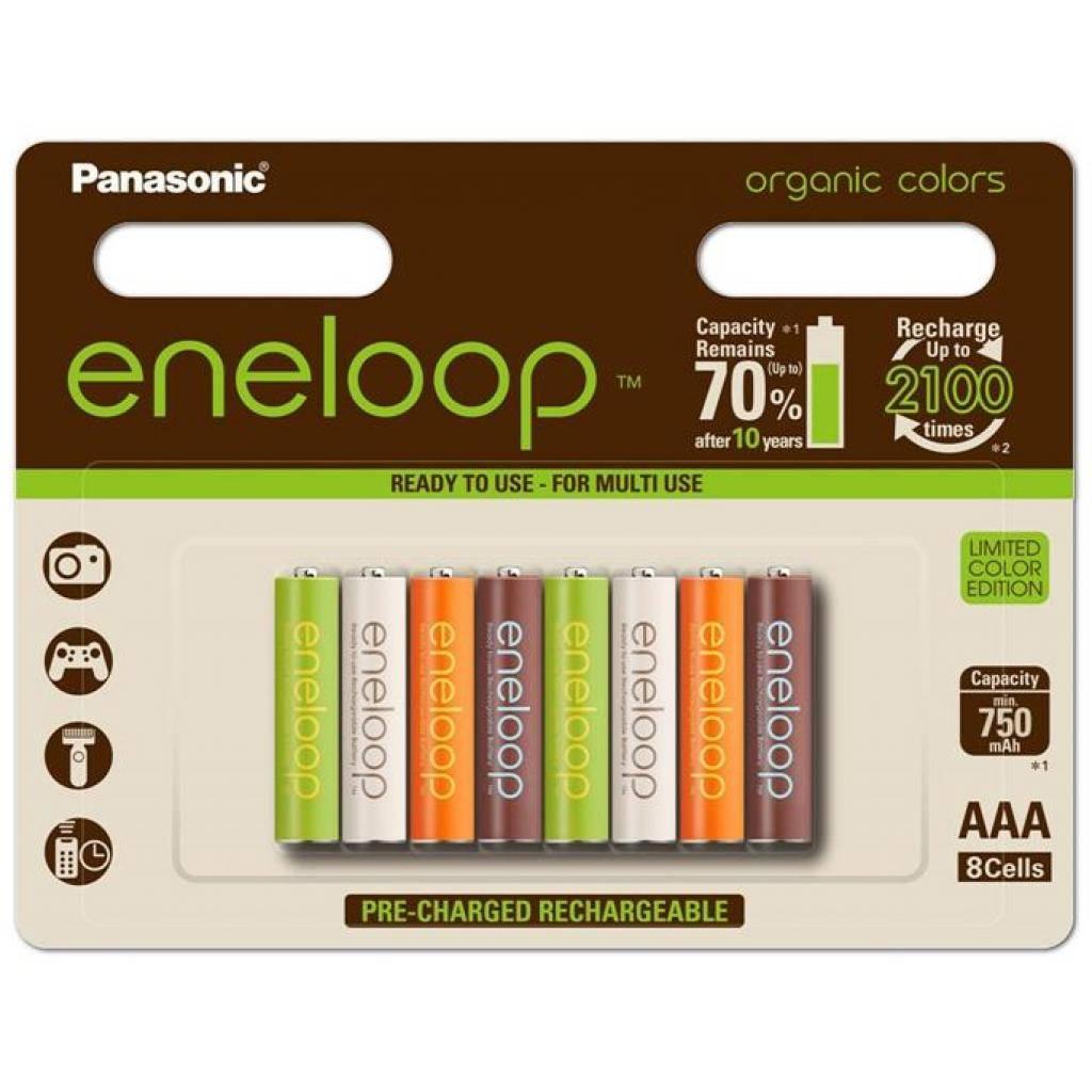 Аккумулятор PANASONIC Eneloop Organic Colors AAA 750mAh NI-MH * 8 (BK-4MCCE/8RE)