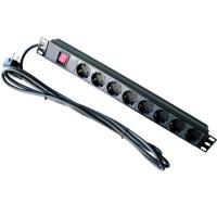 """Силовой блок Hypernet 19"""" 8 розеток, кабель 1.8m алюм. корпус с выключателем (SPP8)"""