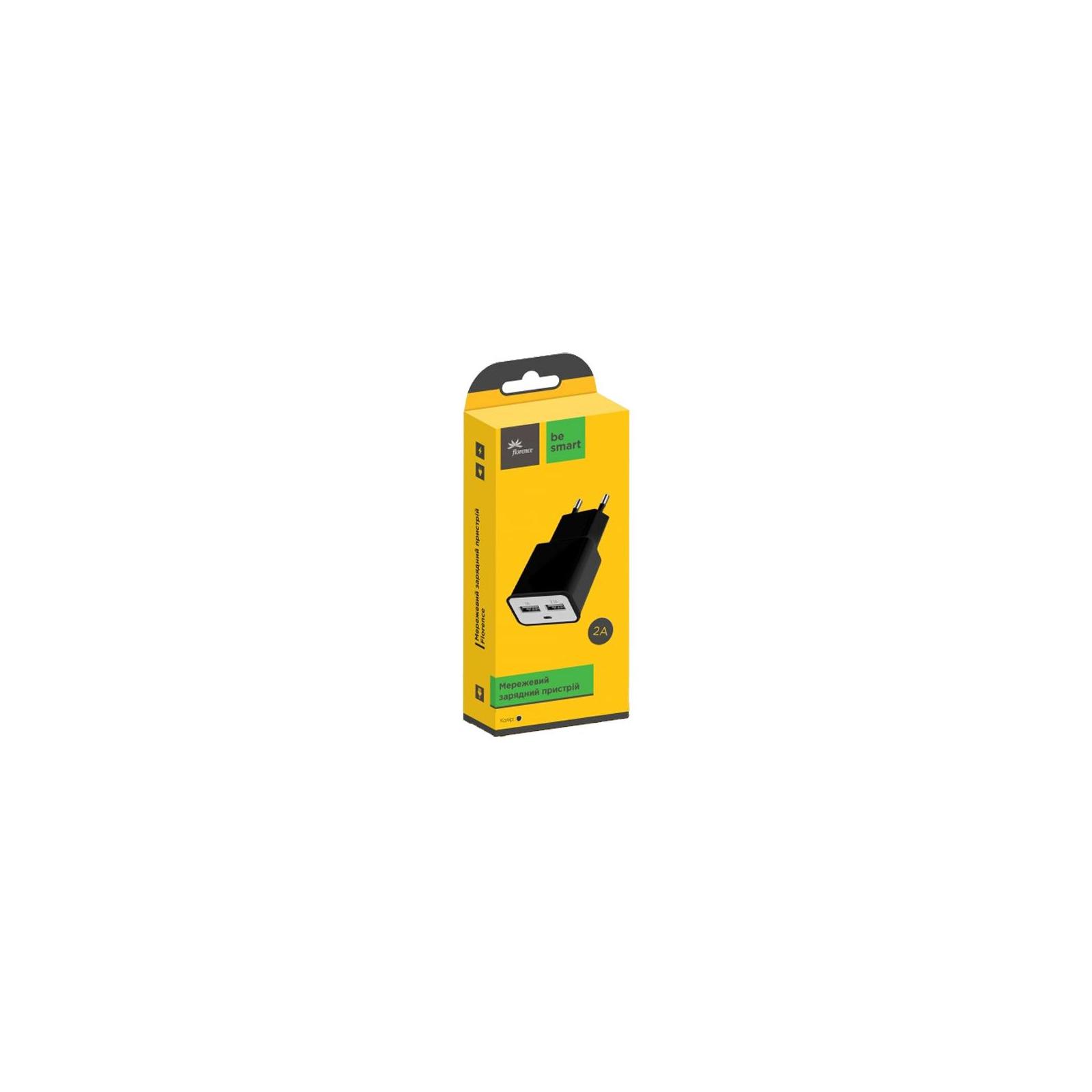 Зарядное устройство Florence 2*USB, 2.0A black (FW-2U020B) изображение 2