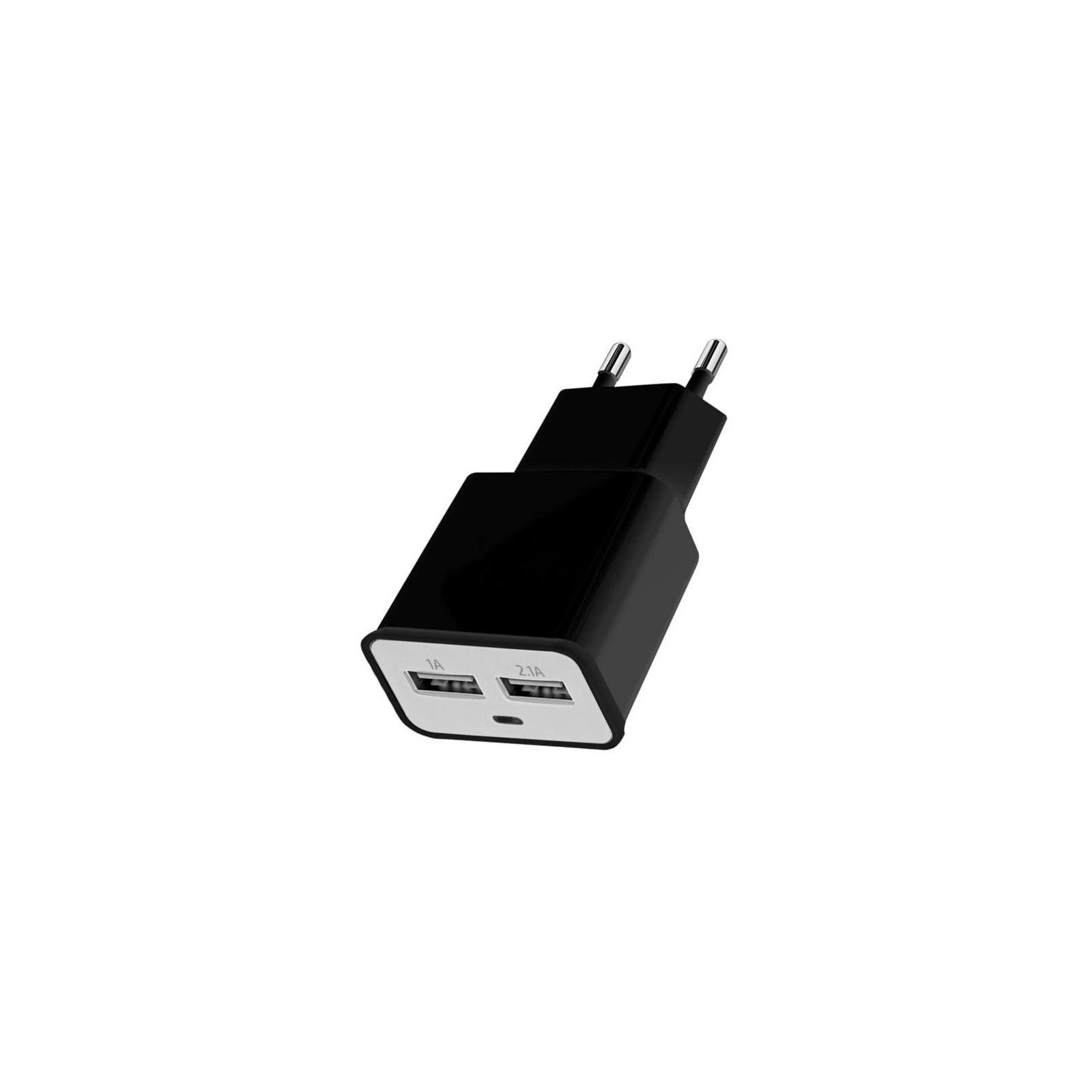 Зарядное устройство Florence 2*USB, 2.0A black (FW-2U020B)