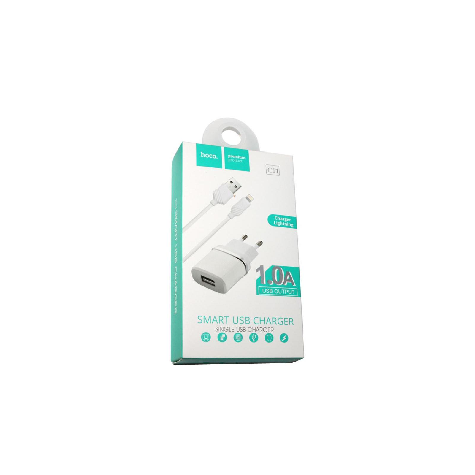 Зарядное устройство HOCO C11 1*USB, 1A, White + USB Cable iPhone 6 (60788) изображение 3