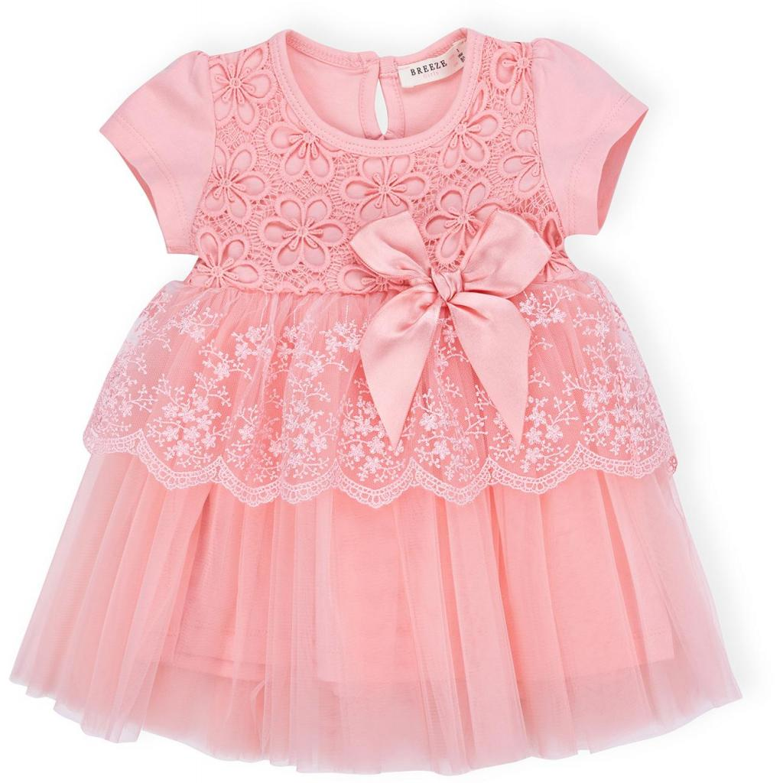 Платье Breeze кружевное с оборками (9011-80G-peach)