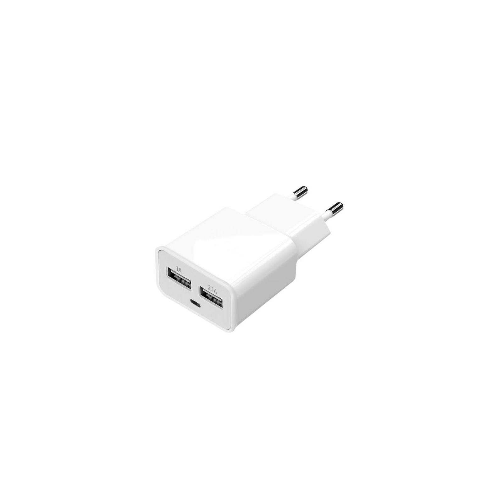 Зарядное устройство Florence 2*USB, 2.0A white (FW-2U020W)