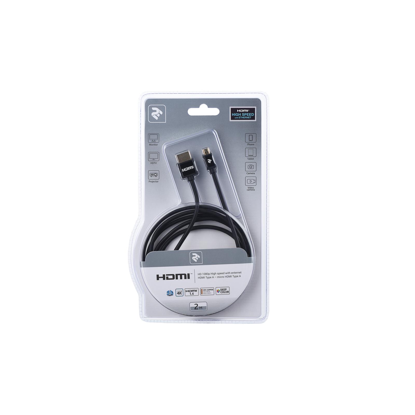 Кабель мультимедийный HDMI to micro HDMI 2.0m 2E (2EW-1121-2m) изображение 3