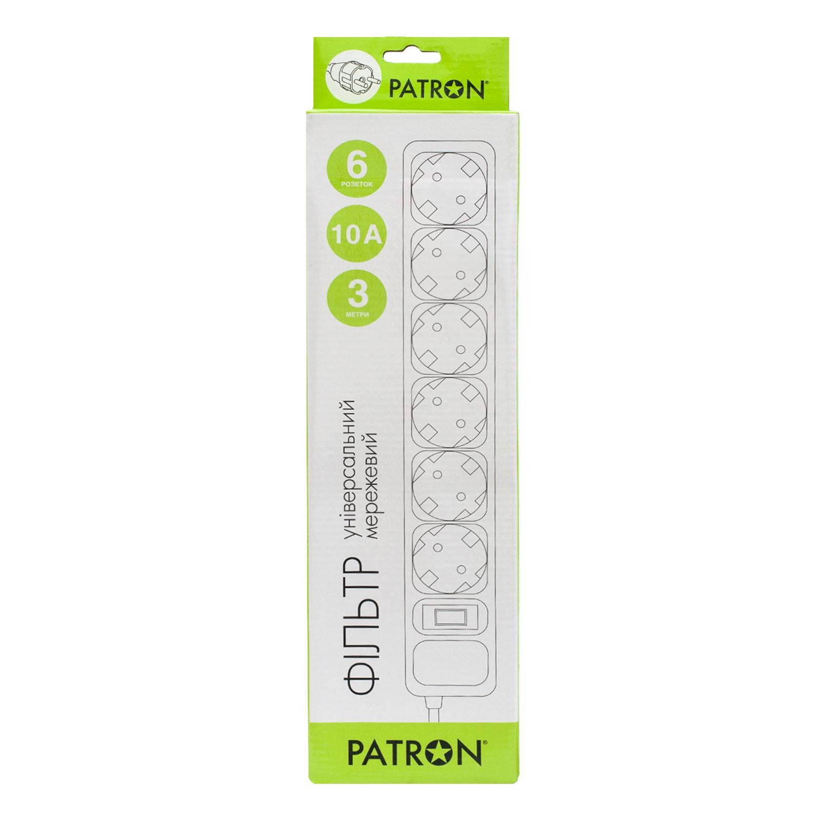 Сетевой фильтр питания Patron 3m (SP-1063W), 6 розеток White (EXT-PN-SP-1063W) изображение 2