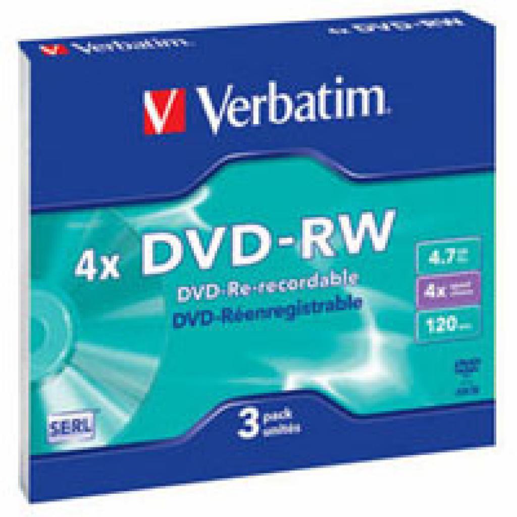 Диск DVD Verbatim 4.7Gb 4x Slim Case 3шт Matte Silver (43635)
