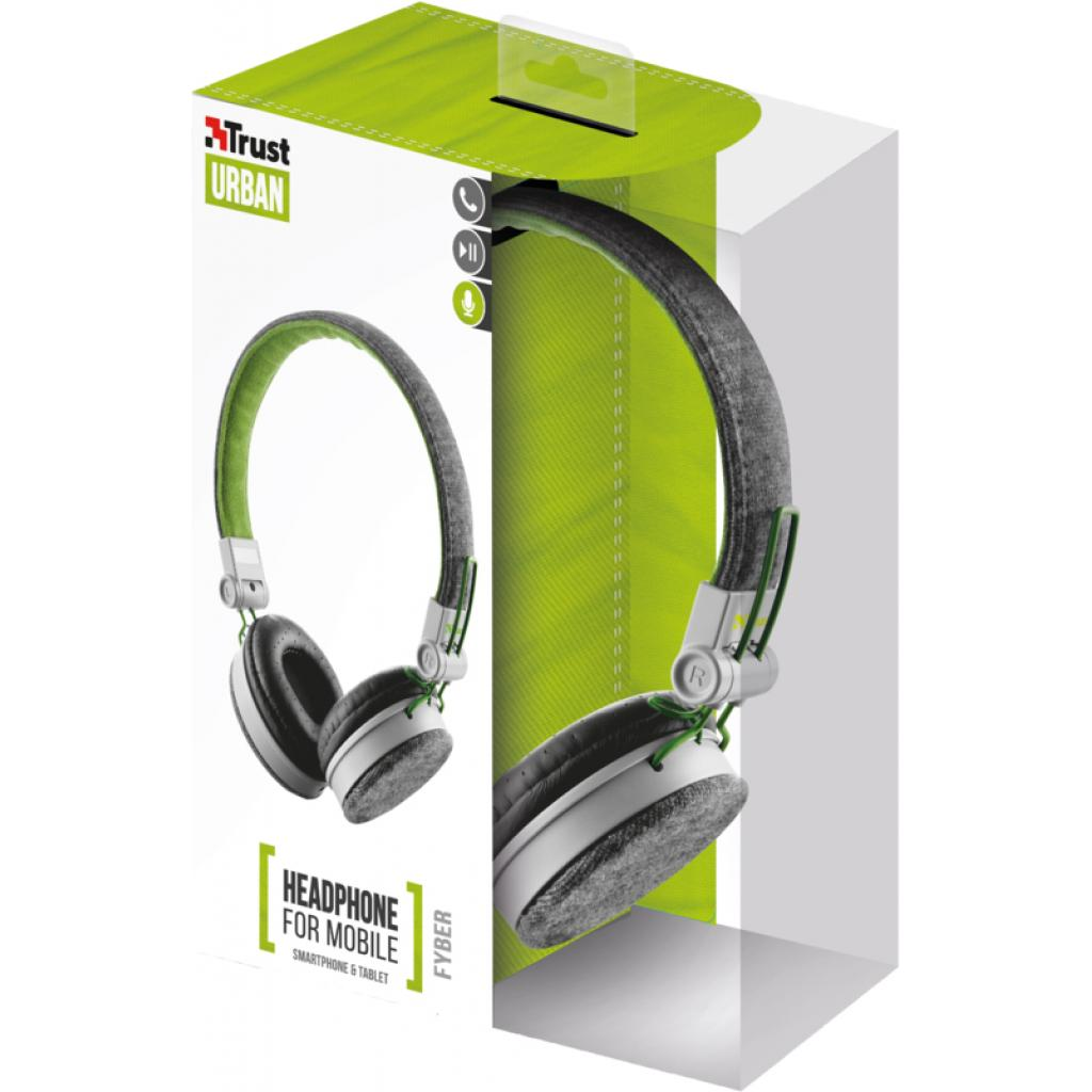 Наушники Trust Urban Revolt Fyber headphone grey/green (20080) изображение 6
