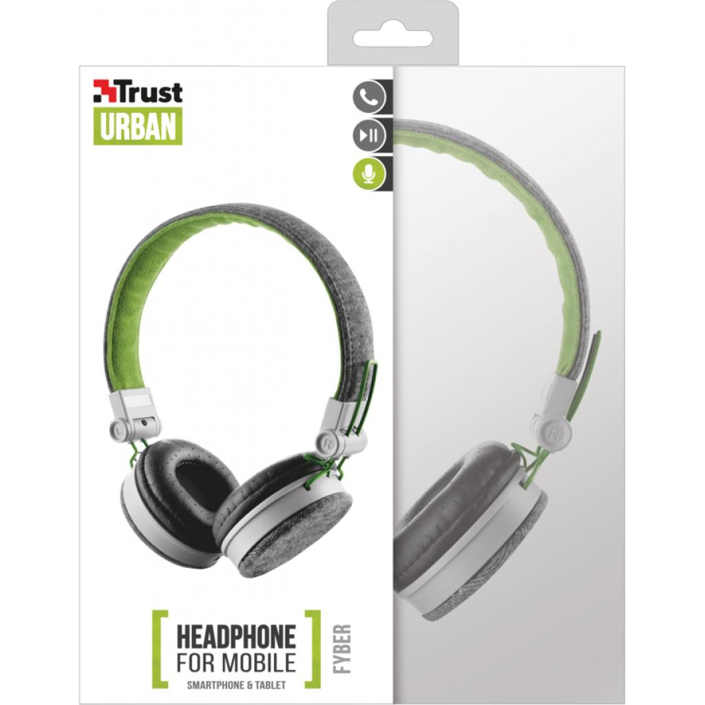 Наушники Trust Urban Revolt Fyber headphone grey/green (20080) изображение 7