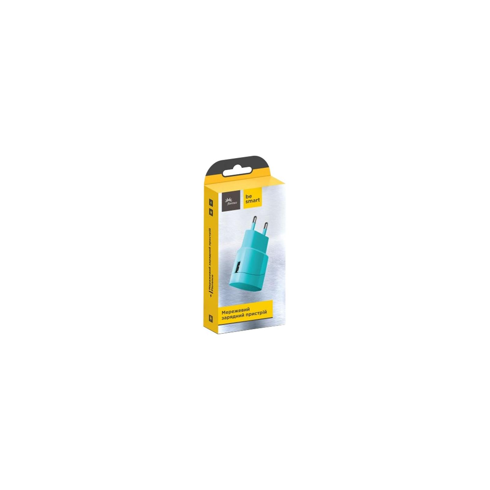 Зарядное устройство Florence USB, 1.0A aquamarin color (FW-1U010A) изображение 2