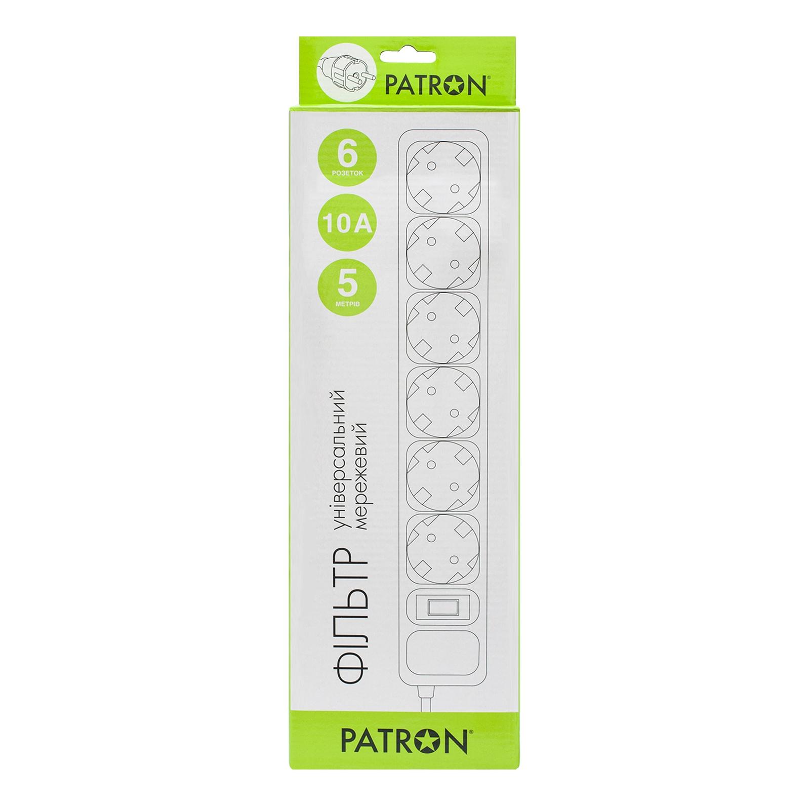 Сетевой фильтр питания Patron 5m (SP-1065W), 6 розеток White (EXT-PN-SP-1065W) изображение 2