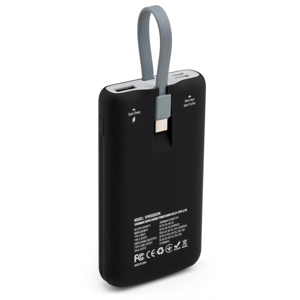 Батарея універсальна Vinga 10000 mAh SuperQC soft touch w/cable 22.5W black (VPB1SQSCBK) зображення 2