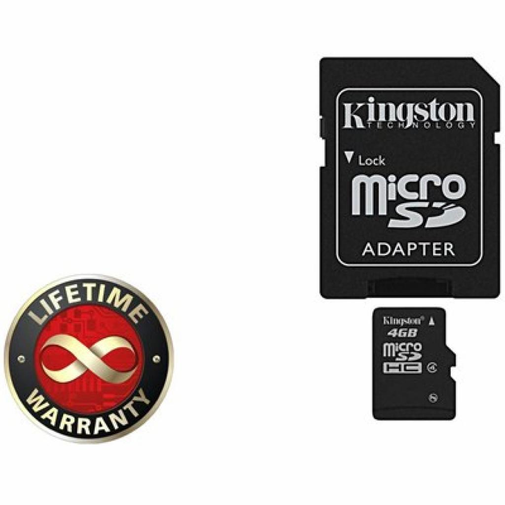 Карта памяти 4Gb microSDHC class 4 Kingston (SDC4/4GB)