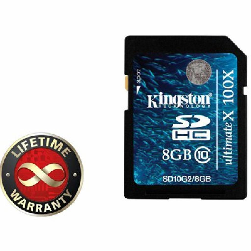 Карта памяти 8Gb SDHC class 10 Generation 2 (100 Kingston (SD10G2/8GB)