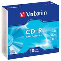 Диск CD Verbatim 700Mb 52x Slim case 10шт Extra (43415)