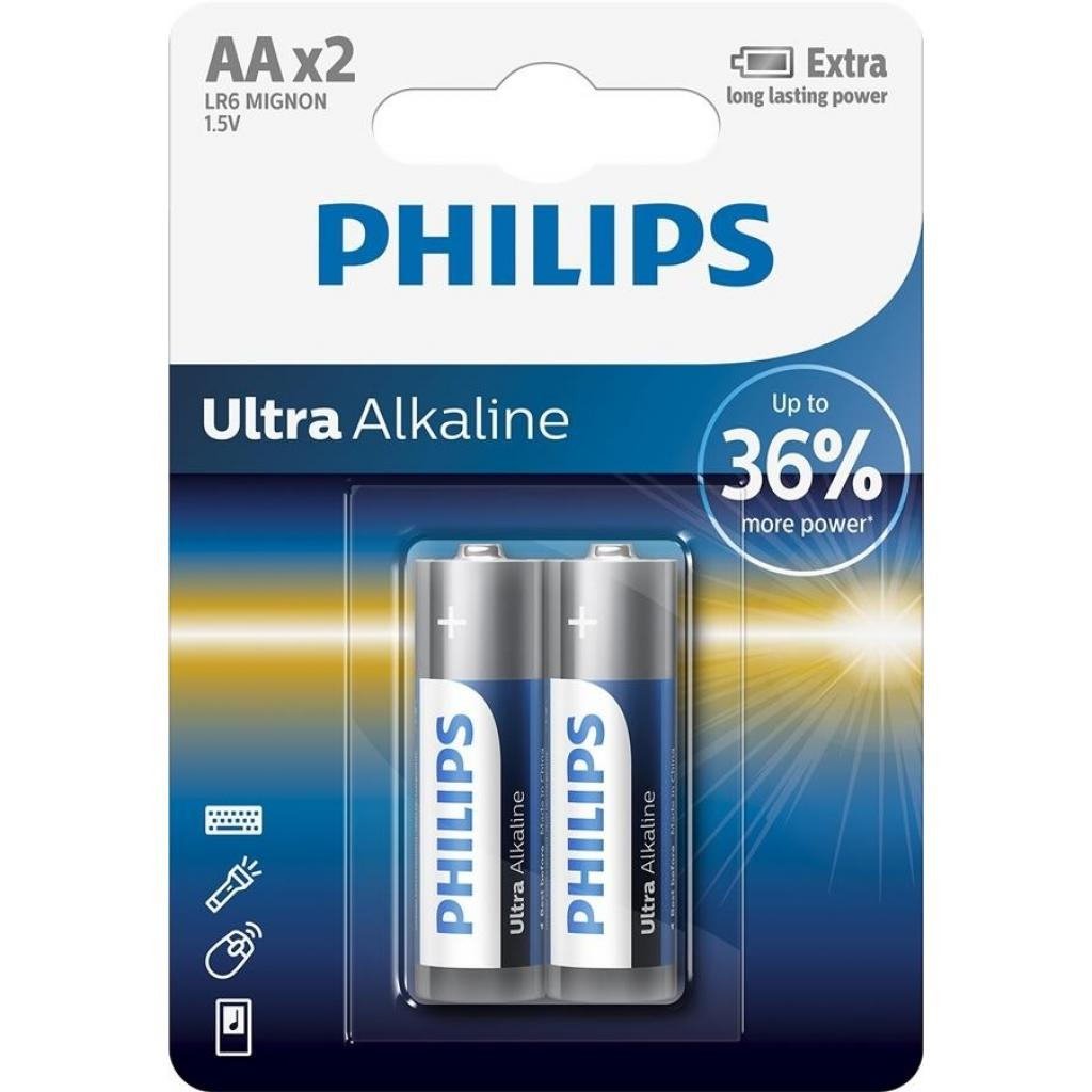 Батарейка PHILIPS LR06 PHILIPS Ultra Alkaline * 2 (LR6E2B/10)