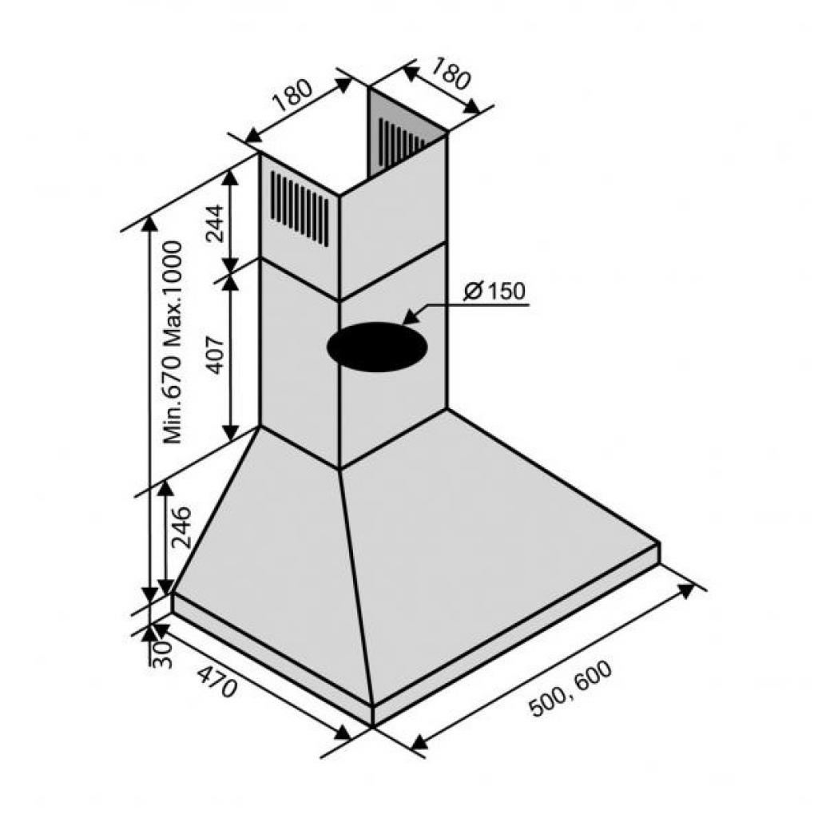Вытяжка кухонная VENTOLUX MILANO 60 OW (750) IT изображение 2