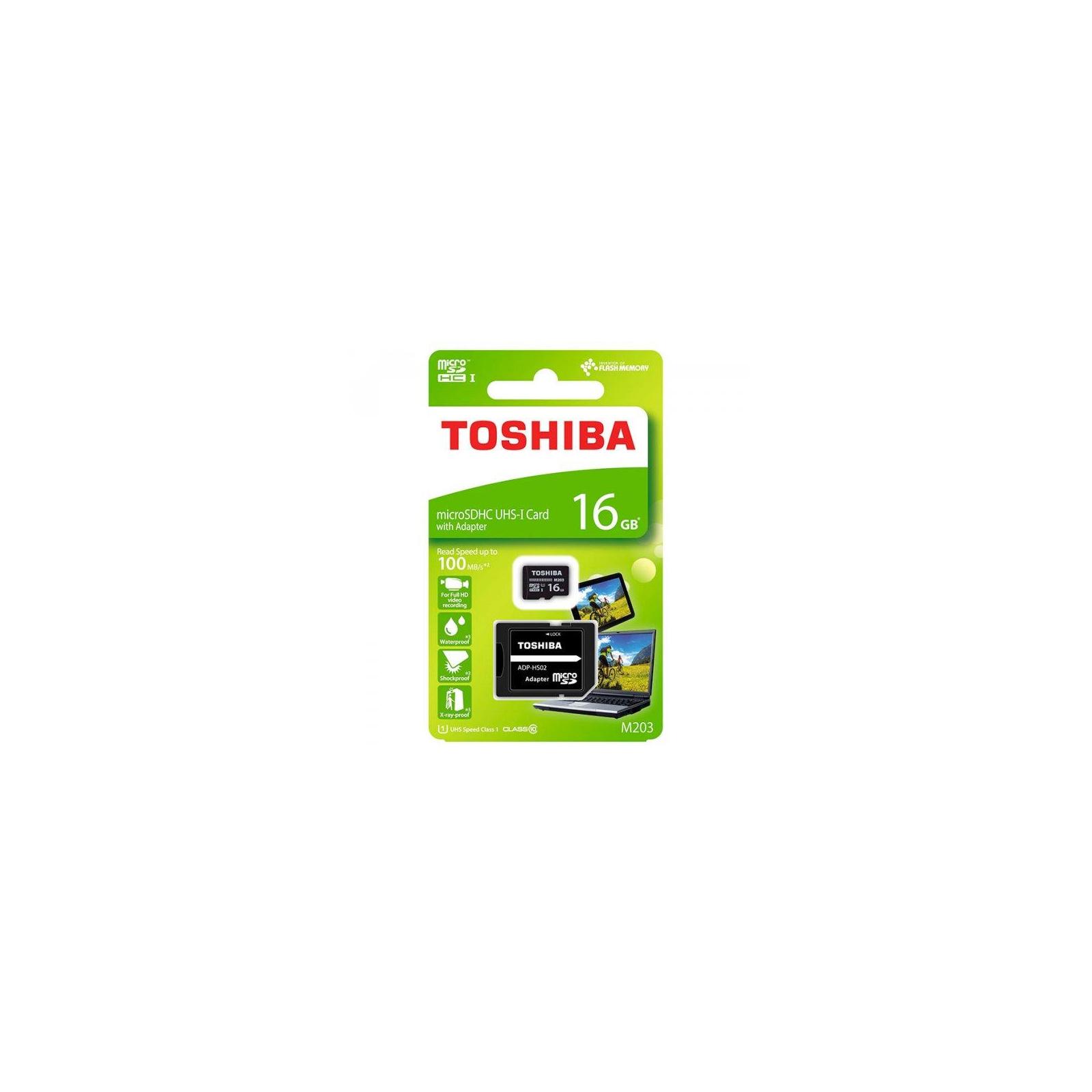 Карта памяти TOSHIBA 16GB microSD class 10 USH-I U1 (THN-M203K0160EA) изображение 3