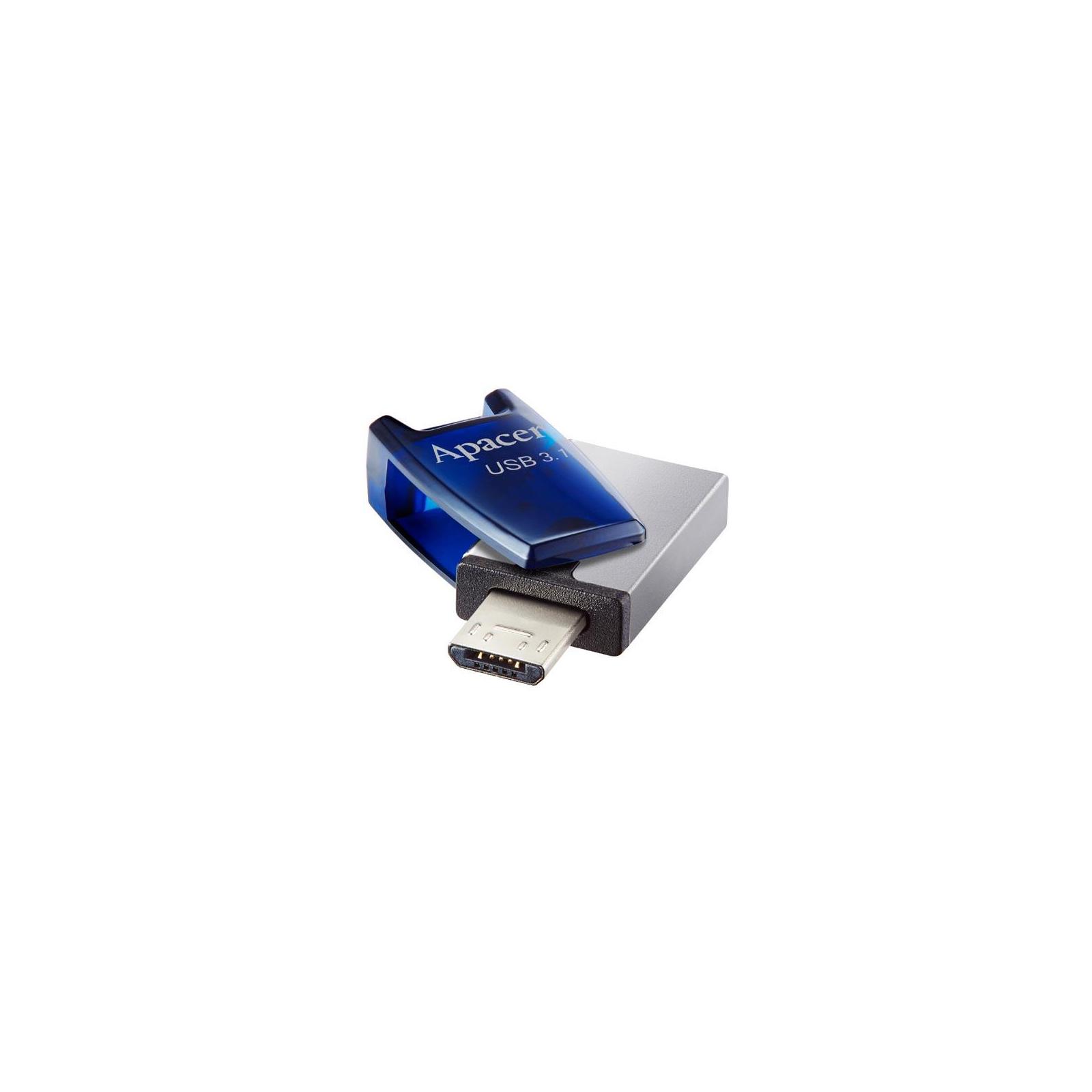 USB флеш накопитель Apacer 8GB AH179 Blue USB 3.1 OTG (AP8GAH179U-1) изображение 5