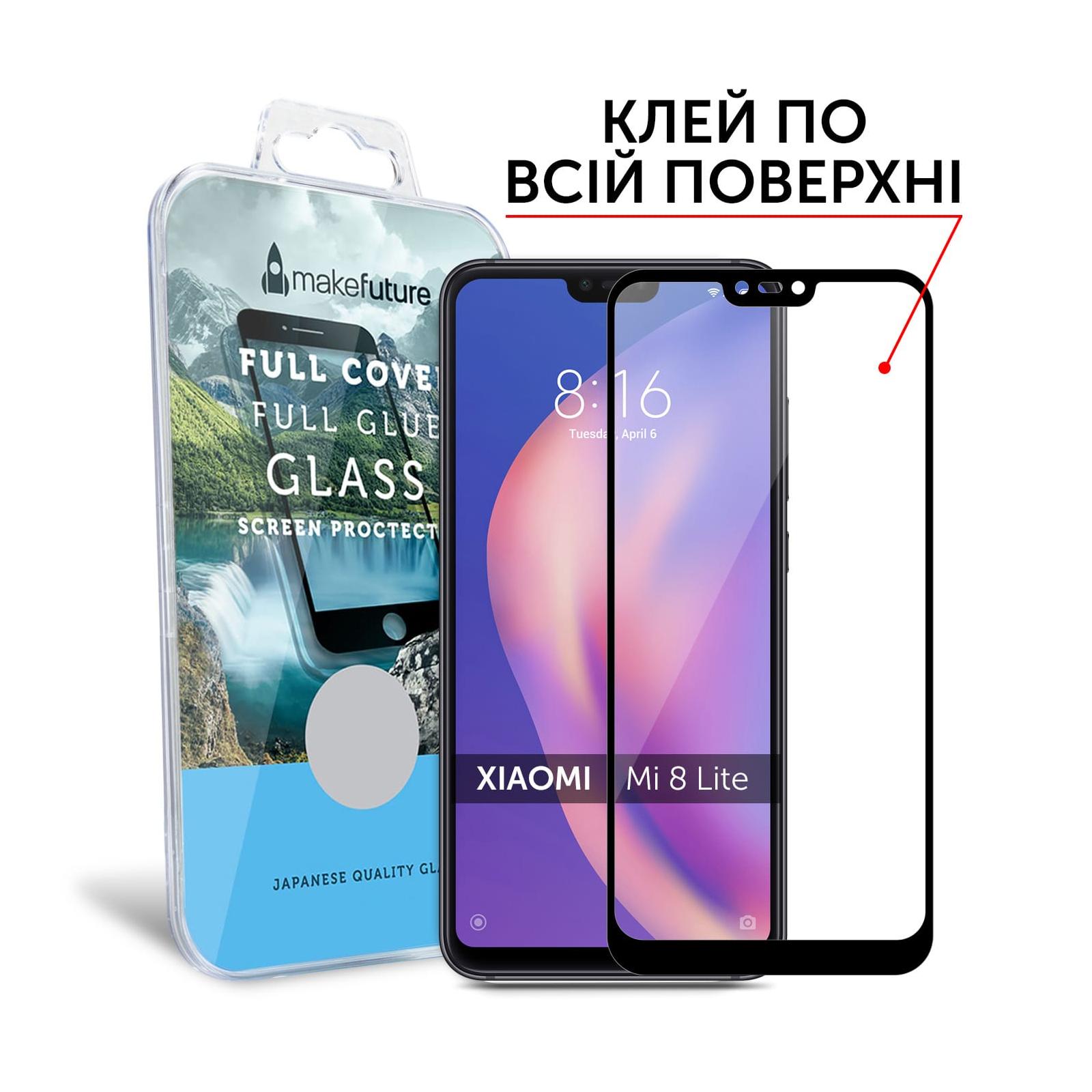 Стекло защитное MakeFuture для Xiaomi Mi8 Lite Black Full Cover Full Glue (MGFCFG-XM8LB) изображение 3